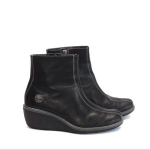TIMBERLAND|| side zip black leather ankle boots
